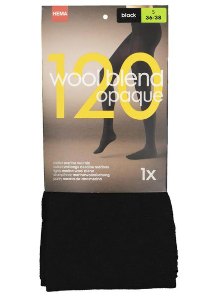 kousenbroek wolmix 120denier zwart zwart - 1000016524 - HEMA
