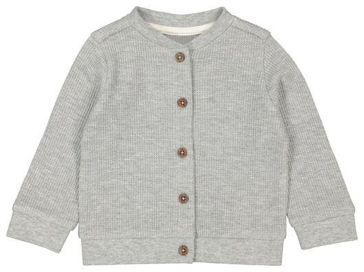 newborn cardigan knitted honeycomb organic cotton grey melange grey melange - 1000022129 - hema