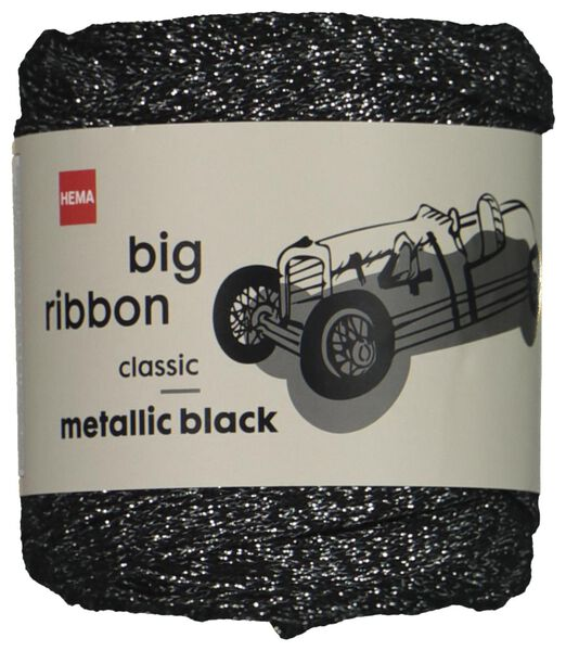 ribbon yarn 24m metallic silver black big ribbon - 1400211 - hema