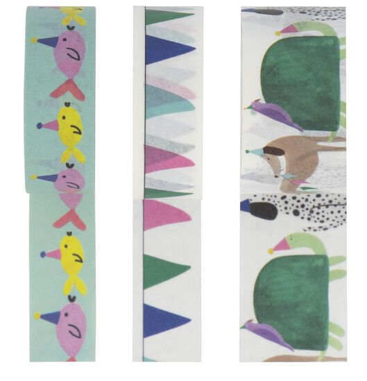 3 rolls of washi tape 5 m party animals - 14700463 - hema
