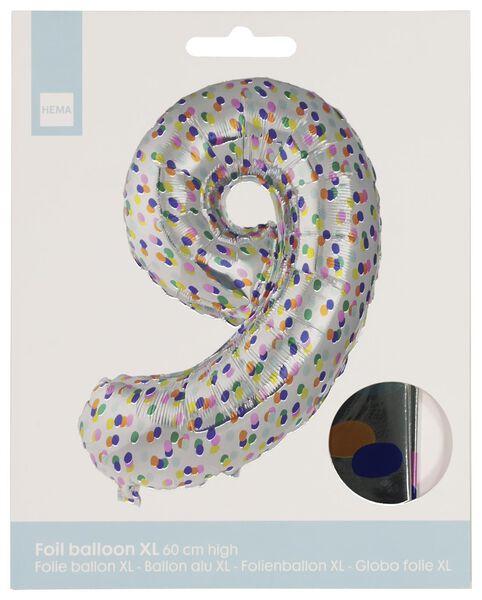 foil balloon XL number 9 - confetti silver 9 - 14230279 - hema