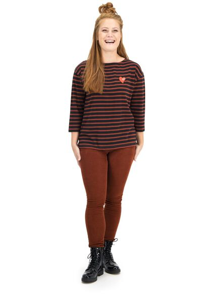 t-shirt femme marron marron - 1000015672 - HEMA