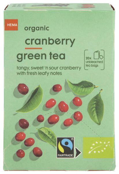 thee bio cranberry groene thee 20 stuks - 17190004 - HEMA