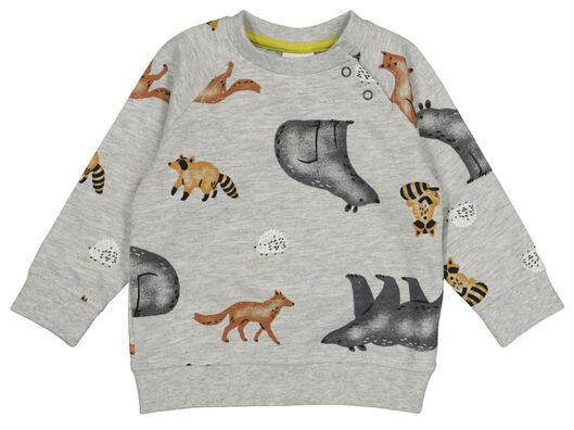 HEMA Baby-Sweatshirt, Tiere Graumeliert