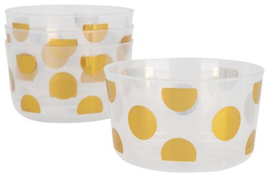 plastic bakjes herbruikbaar - Ø11 cm - gouden stippen - 4 stuks - 14200394 - HEMA