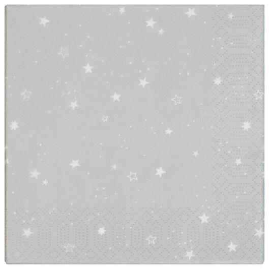 20 serviettes 33x33 - papier - étoiles gris - 25600159 - HEMA