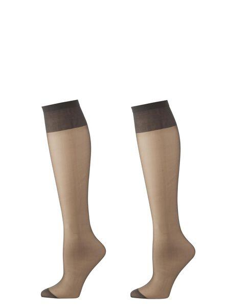 2-pack knee-socks mat 15 denier anthracite one size - 4022576 - hema