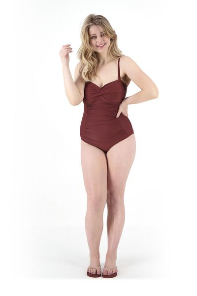 women's swimsuit strapless medium control recycled dark red dark red - 1000017916 - hema