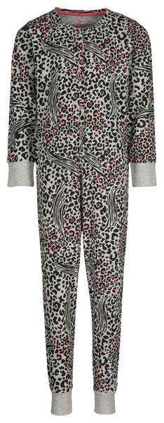 Kinder-Pyjama-Jumpsuit, Tiermuster graumeliert 110/116 - 23030702 - HEMA