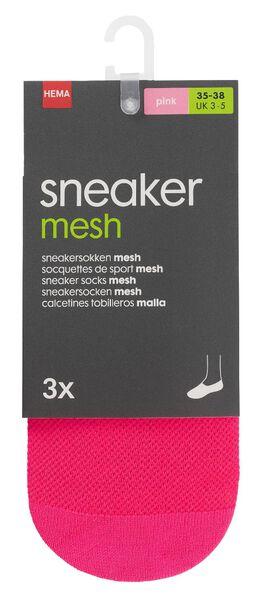 3-pack women's sneaker socks pink pink - 1000012861 - hema