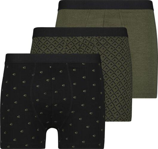3er-Pack Herren-Boxershorts, lang, Baumwolle/Elasthan graugrün graugrün - 1000024076 - HEMA