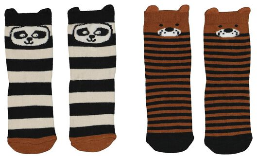 2-pack baby socks with bamboo brown 12-18 m - 4722333 - hema
