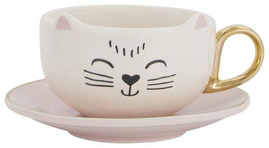 tasse et soucoupe 11cm céramique chat - 61140016 - HEMA