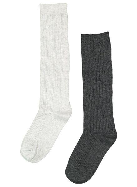 2 paires de bas femme gris chiné gris chiné - 1000016548 - HEMA