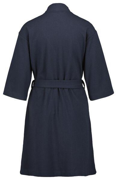 dames badjas kort wafel donkerblauw donkerblauw - 1000022612 - HEMA