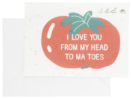 greeting card with tomato seeds - 41810090 - hema