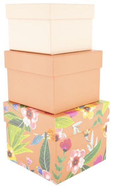 3 storage boxes - cardboard - flower - 39890052 - hema