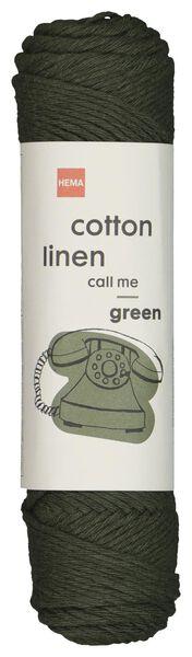 yarn mix cotton and linen 83 m dark green green cotton linen - 1400202 - hema