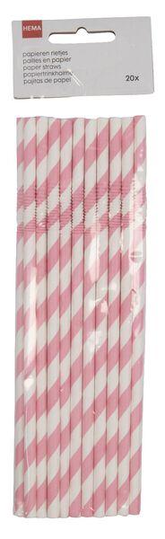 20 pailles en papier flexibles rose - 14200521 - HEMA