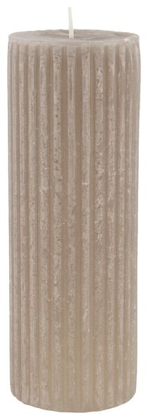 rustic candle with relief - 7x19 - taupe - 13502608 - hema