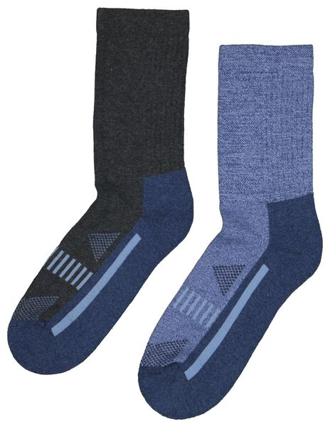 2 pairs hiking socks blue blue - 1000023739 - hema