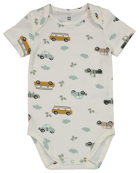 Baby-Body, elastische Biobaumwolle, Autos eierschalenfarben eierschalenfarben - 1000022895 - HEMA
