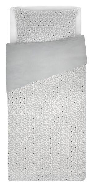 housse de couette petit lit - 120x150 - coton doux fleur gris - 5720157 - HEMA