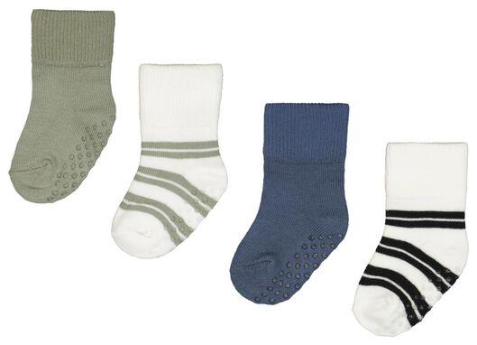 Babyaccessoires - HEMA 4er Pack Baby Socken Mit Bambus, Streifen Blau - Onlineshop HEMA