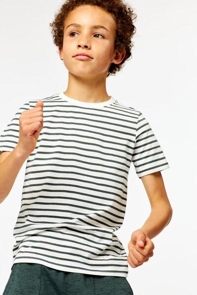 Kinder-T-Shirt, Streifen dunkelgrün 158/164 - 30743736 - HEMA