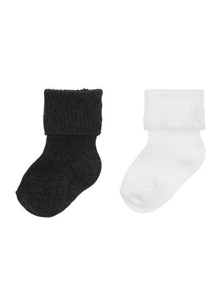 HEMA 2er Pack Newborn Socken Graumeliert