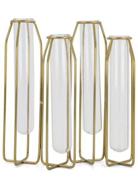 stand with 4 small vases - 18 x 16 cm - gold-coloured - 13392154 - hema
