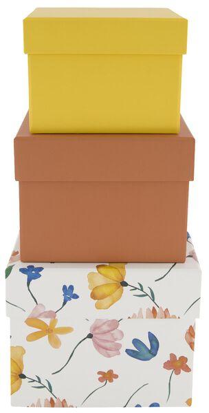 opbergdoos karton bloemen oranje - 3 stuks - 39821126 - HEMA