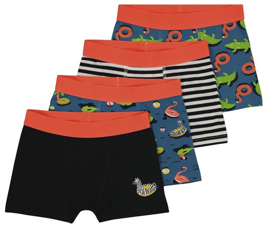 4 boxers enfant coton/stretch animaux bleu foncé bleu foncé - 1000024506 - HEMA