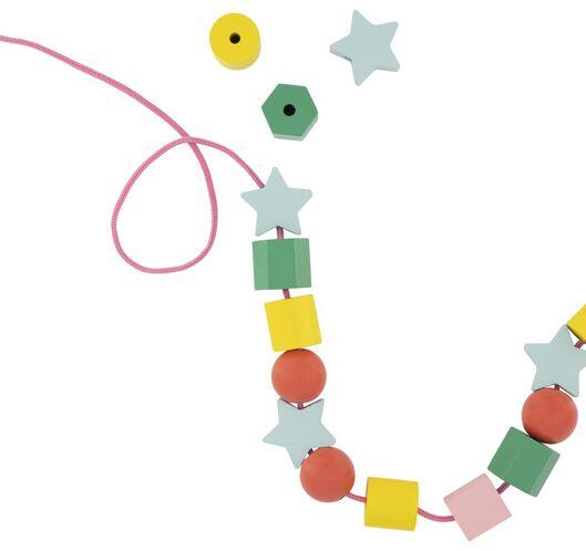 70 perles en bois avec fil - 15122233 - HEMA