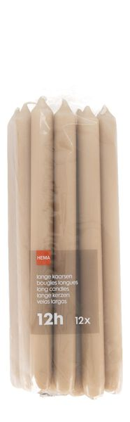 12er-Pack lange Haushaltskerzen, 28 cm, braun lachsfarben 2.2 x 29 - 13501934 - HEMA