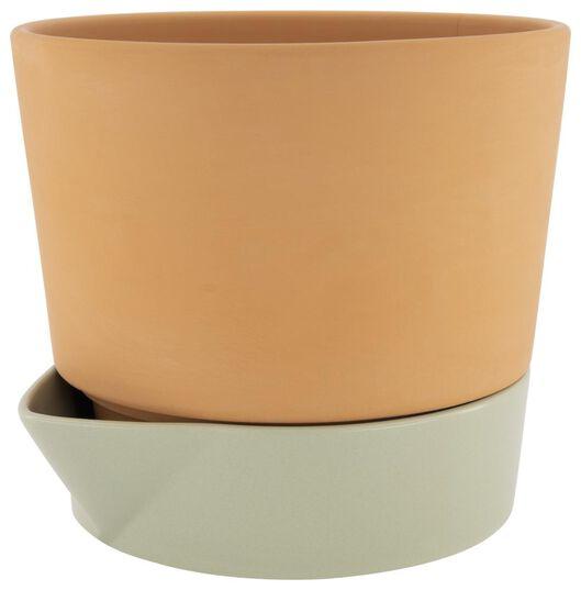 cache-pot avec réservoir à eau Ø25cm terre cuite/vert - 41810259 - HEMA