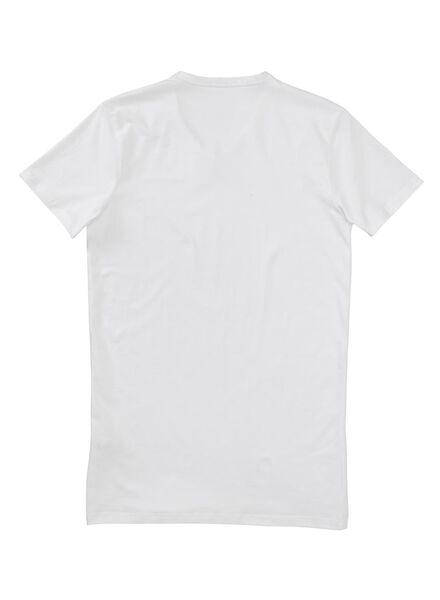 men's slim fit T-shirt extra long white white - 1000005990 - hema