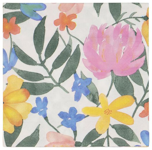 20er-Pack Servietten, 33 x 33 cm, Papier, Blumen - 14200440 - HEMA