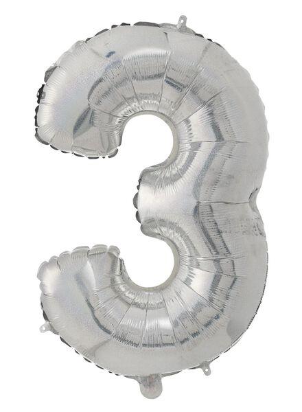 foil balloon XL 3 3 silver - 60800649 - hema