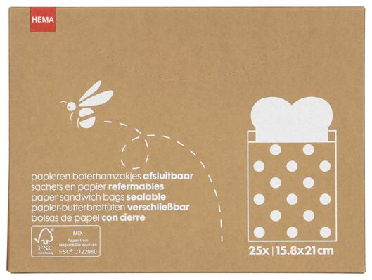 Image of HEMA 25 Paper Sandwich Bags (Brown.)