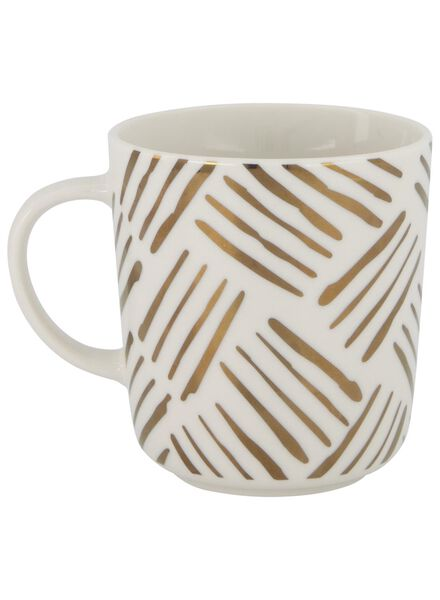 mug - 280 ml - Chicago - white with gold-coloured stripes - 9602084 - hema