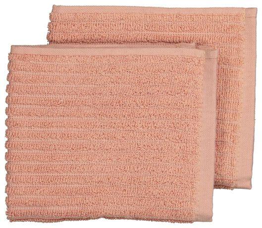3 lavettes - coton - corail - 5490045 - HEMA