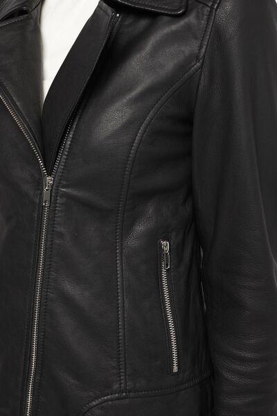 Damen-Lederjacke schwarz schwarz - 1000021998 - HEMA