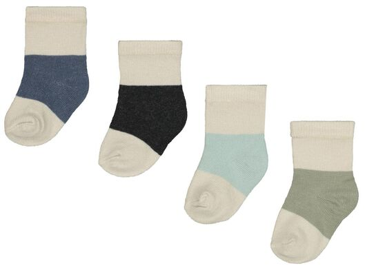 Babyaccessoires - HEMA 4er Pack Baby Socken Mit Bambus, Colourblocking Blau - Onlineshop HEMA