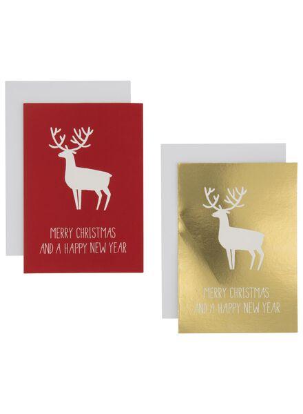 20 Weihnachtskarten, 13,5 x 9,5 cm, gold/rot - 25300240 - HEMA
