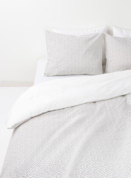 housse de couette-coton doux-200x200cm-blanc pois blanc 200 x 200 - 5700085 - HEMA