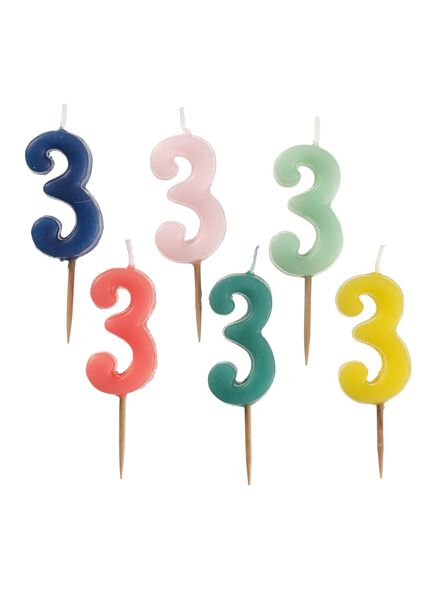 candle number 3 multicolour 3 - 14230050 - hema