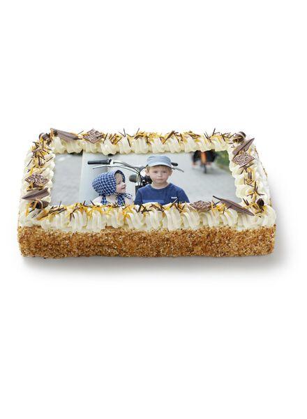 maxi fototaart met decoratie en hazelnootkrokant 30 p. - 6333605 - HEMA