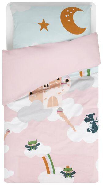 housse de couette jeune enfant - 120 x 150 cm - château rose - 5740017 - HEMA