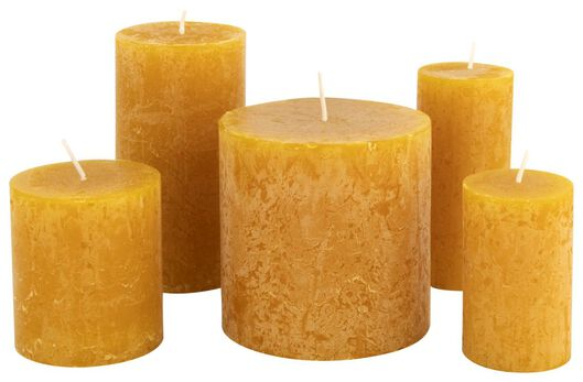bougie rustique jaune ocre jaune ocre - 1000015362 - HEMA